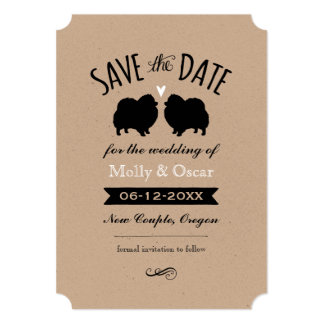 Pomeranian Silhouettes Wedding Save the Date Card