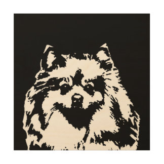 "Pomeranian Stencil Wood 12""x12"" Wall Art"