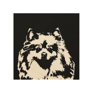 "Pomeranian Stencil Wood 8""x8"" Wall Art"