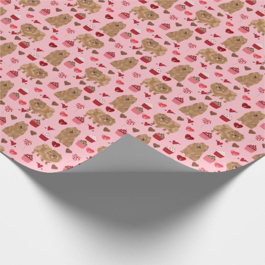 Pomeranian Wrapping paper valentines day