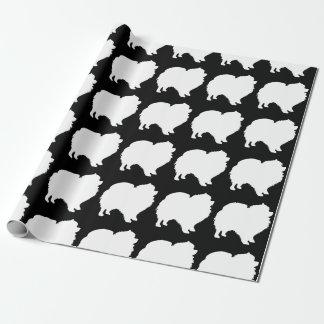 Pomeranian wrapping paper white silhouette black