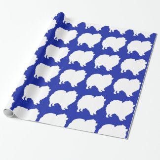 Pomeranian wrapping paper white silhouette blue