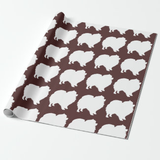 Pomeranian wrapping paper white silhouette brown