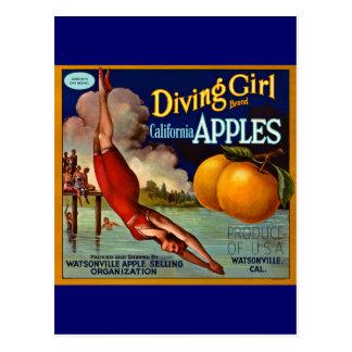 Pommes de fille de plongée - étiquette vintage de cartes postales
