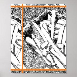 pommes frites tiled with orange border poster