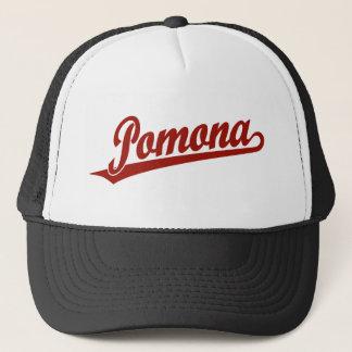 Pomona script logo in red trucker hat