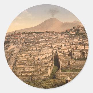 Pompeii and Mount Vesivius, Campania, Italy Round Sticker