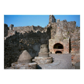 Pompeii, Bakery, with mill stones and oven Poster