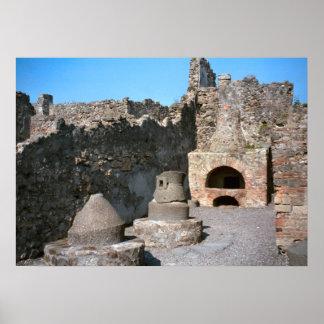 Pompeii, boulangerie, avec les pierres de moulin e poster