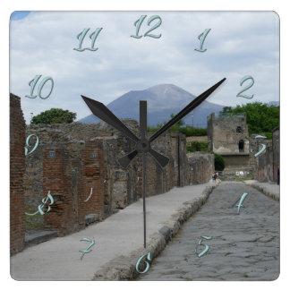 Pompeii-Vesuvius Square Wall Clock