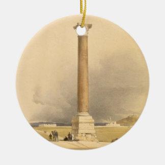 "Pompey's Pillar, Alexandria, from ""Egypt and Nubia Round Ceramic Ornament"