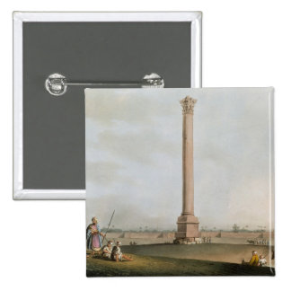 Pompey's Pillar, plate 14 from 'Views in Egypt', e 2 Inch Square Button