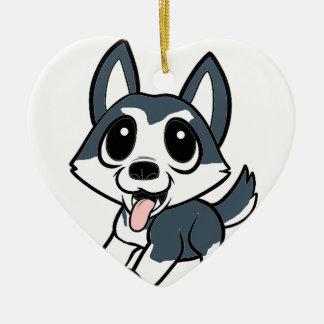 pomsky cartoon ceramic ornament