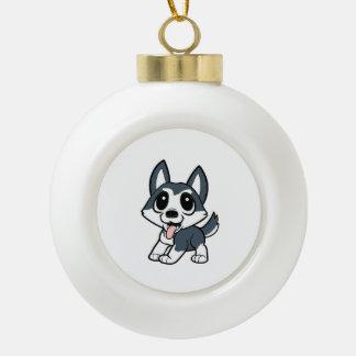 pomsky cartoon.png ceramic ball christmas ornament