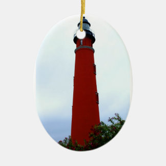 Ponce de Leon Inlet Lighthouse Double-Sided Oval Ceramic Christmas Ornament