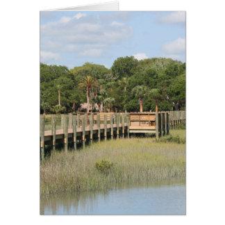 Ponce de Leon park in Florida dock Greeting Card