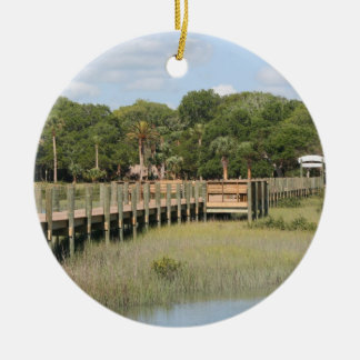 Ponce de Leon park in Florida dock Double-Sided Ceramic Round Christmas Ornament