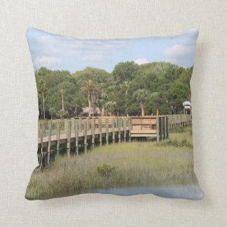 Ponce de Leon park in Florida dock Throw Pillows