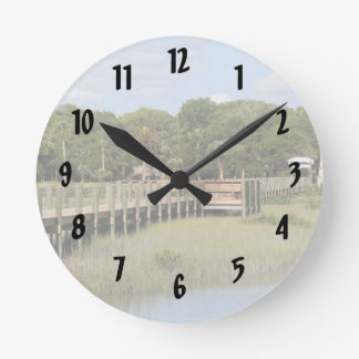 Ponce de Leon park in Florida dock Wall Clock