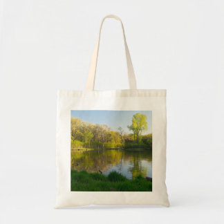 Pond and Lush Forest of Battle Creek Park Tote Bag