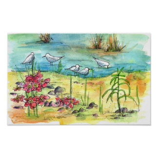 Pond Birds Watercolor Painting Nature Art Poster