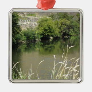 Pond by the Road Silver-Colored Square Ornament