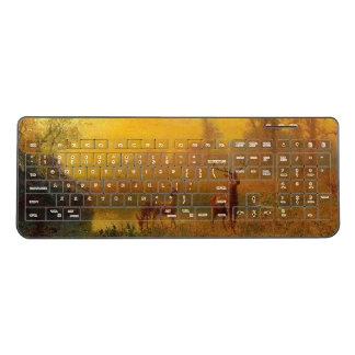 Pond Deer Wildlife Animal Light Wireless Keyboard