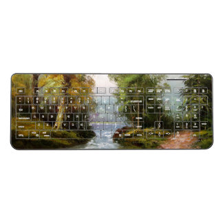 Pond Fall Trees Stream Waterfall Wireless Keyboard