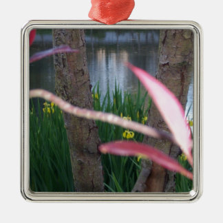 Pond Flora Silver-Colored Square Ornament
