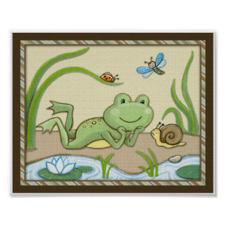 Pond Friends, Wiggle Bugs, Frog Nursery Art Poster