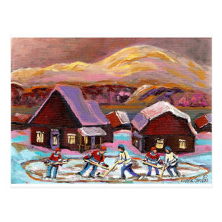 POND HOCKEY COZY WINTER SCENE 6X8 COPY.jpg Postcard
