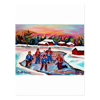 Pond Hockey on Frozen Lake Postcard