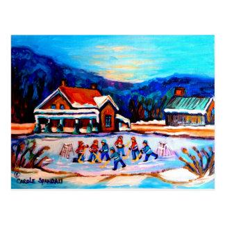 Pond Hockey with houses 9X12 Postcard