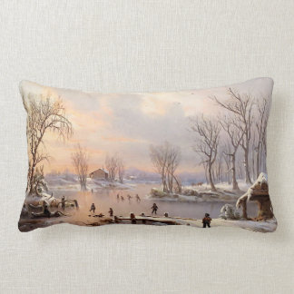 Pond Ice Skating Winter Snow Country Throw Pillow