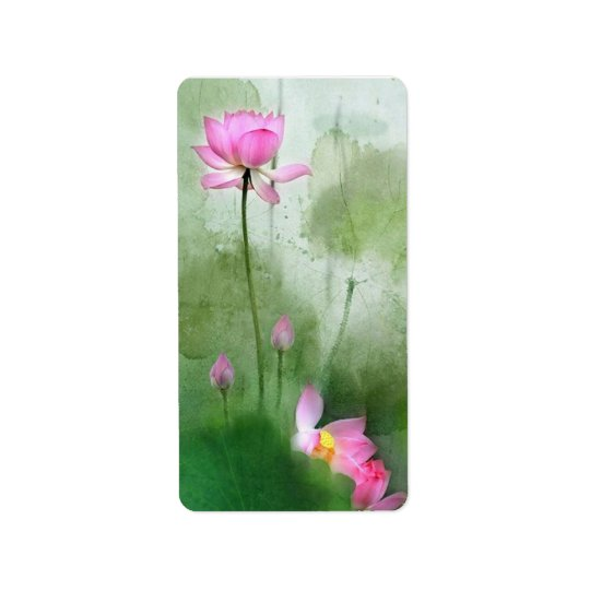 POND LOTUS l Chinese Brush Painting Art Label