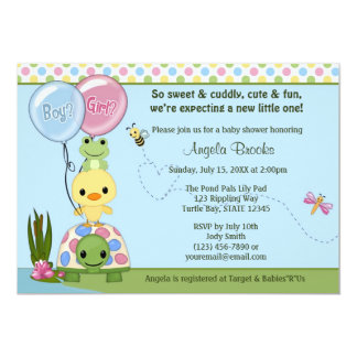 Pond Pals Duck Baby Shower Invitation Frog #2