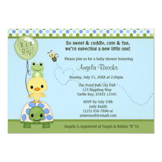 Pond Pals Duck Baby Shower Invitation Frog Turtle