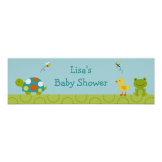 Pond Pals Frog Turtle Baby Shower Banner Sign