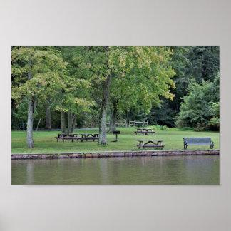 Pond Park Scene Poster