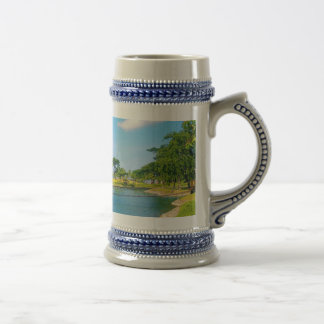 Pond Scene with Blue Skies and Clouds Beer Stein