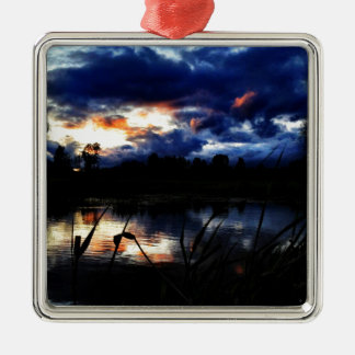 pond Silver-Colored square ornament