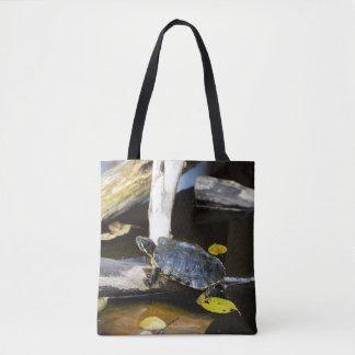 Pond slider turtle in the wild tote bag
