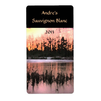 Pond Sunset Wine Label