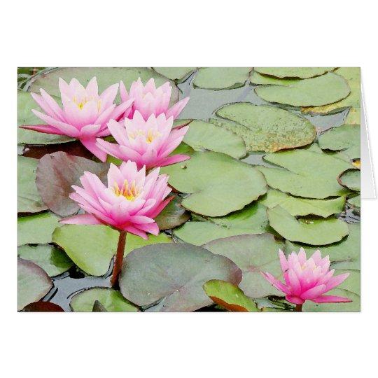 Pond Water Garden Waterlily Flower Floral Lilypads Card