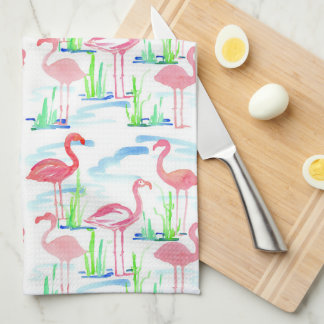Pond Watercolor Flamingos Kitchen Towel