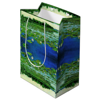 Pond White Waterlily Flowers Lilypad Gift Bag