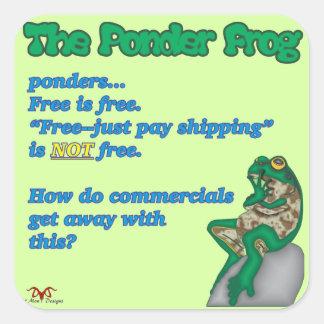 Ponder Frog-Free Square Sticker
