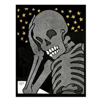 Pondering Skeleton postcard