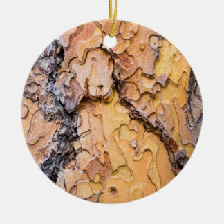 Ponderosa pine bark, Washington Round Ceramic Ornament