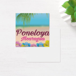 Poneloya nicaragua beach travel poster square business card